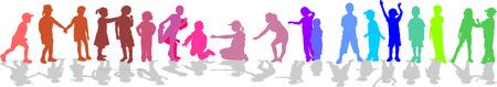 Los niños en línea de la silueta, el color aisladas de vectores Ilustración de vector