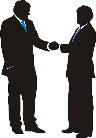 Vector illustration of business people shaking hands with  Vector