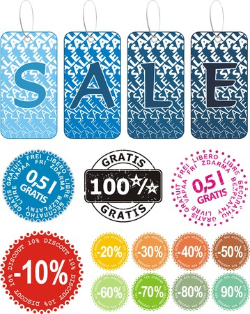 Set of colorful vector sale stickers, stamp and labels Stock Vector - 5236581