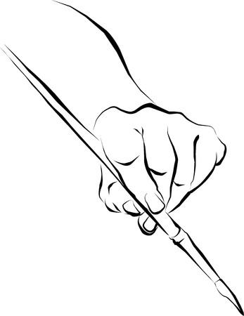 hand schilderen: Vector drawing hand met de artistieke borstel