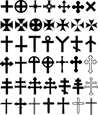 Vector illustrations, historical, current, decorative and symbolic crosses Vector