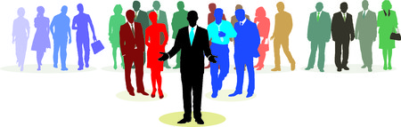 complex system: People in three line silhouette, color isolated vector