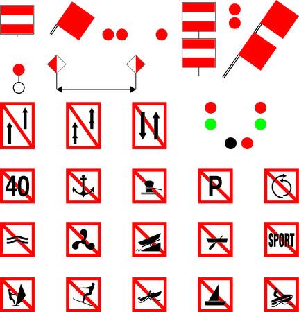 lifeboat: Prohibitory signs for river navigation, vector illustration Illustration
