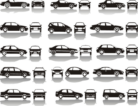 black vector: Set icons - Black silhouettes of cars, vector shapes design  Illustration