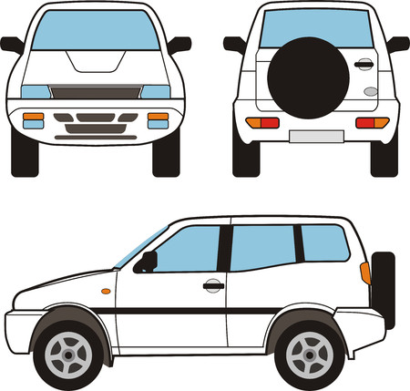 suv: White small SUV, vector black lines over white background Illustration