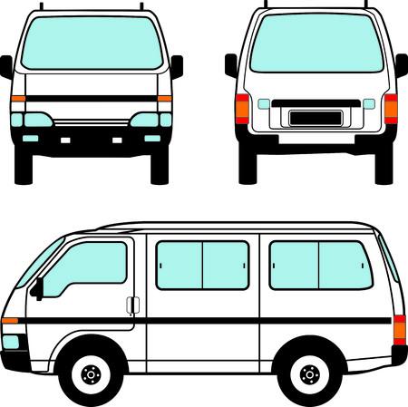 White minivan car, vector black lines over white background Vector