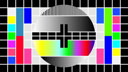 visual screen: Test Pattern for Wide Screen TV, vector illustration