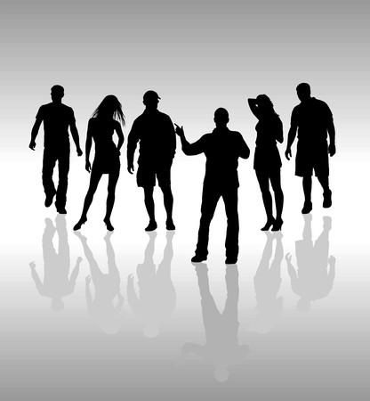 Friends, Classmates, people silhouette, black  vector illustration Stock Vector - 5547240