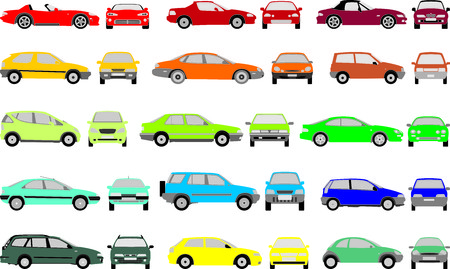 Set icons - Color silhouettes of cars, vector shapes design