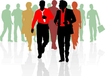 diverse business team: Group of young business people Teamwork Business team  Illustration