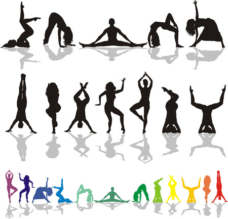 Sexy women yoga an fitness collection - vector illustration Stock Vector - 5855282