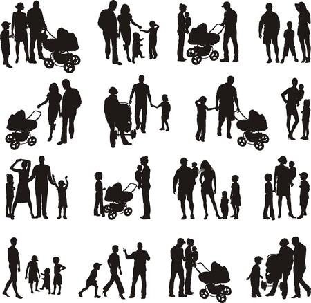 mum and daughter: Sedici gruppi di famiglie di illustrazioni vettoriali