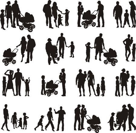 mom daughter: Sixteen sets of families of vector illustrations Illustration