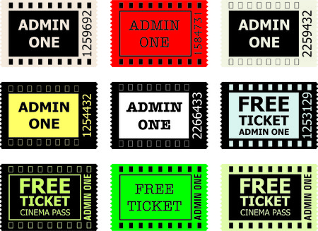 yelow: Admit One Cinema Ticket, vector on White Background