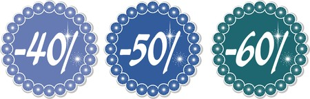 40-60% price tags of snowflakes, vector illustration Stock Vector - 6138054