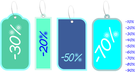 Price tags of snowflakes, vector illustration Stock Vector - 6182998