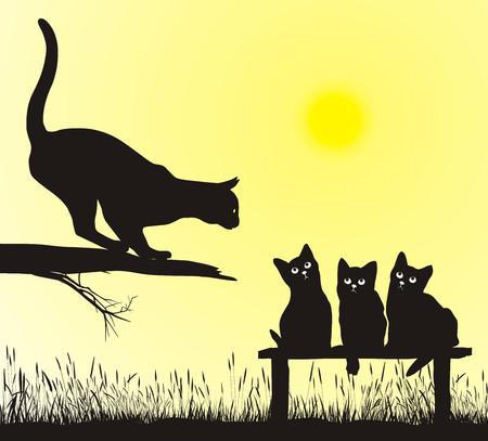 mother on bench: School jumping cat, illustration