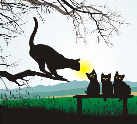 mother on bench: School jumping cat,  illustration Illustration