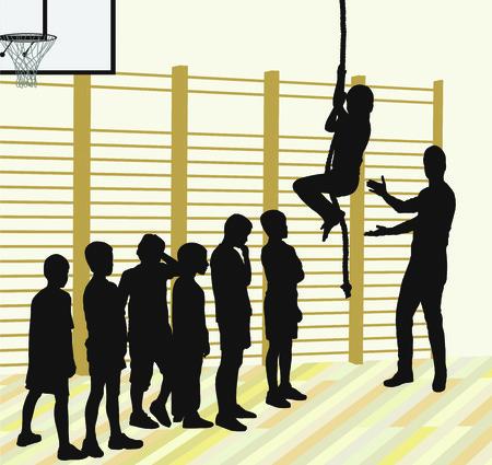 educacion fisica: Siluetas de ilustraci�n vectorial de los ni�os, los alumnos subir