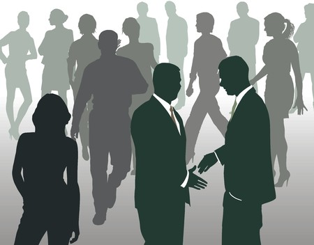 forefront: Silhouettes of people at the forefront of meeting the two men