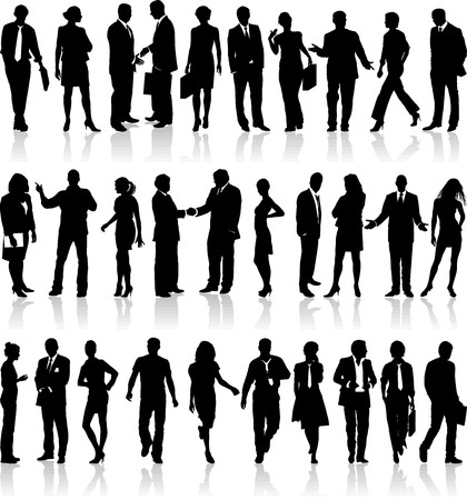 team discussion: Large set of silhouettes of business people  Illustration