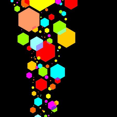Illustration color hexagons on a black background Illustration