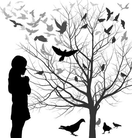 Illustrazioni ragazza guarda un albero pieno di uccelli