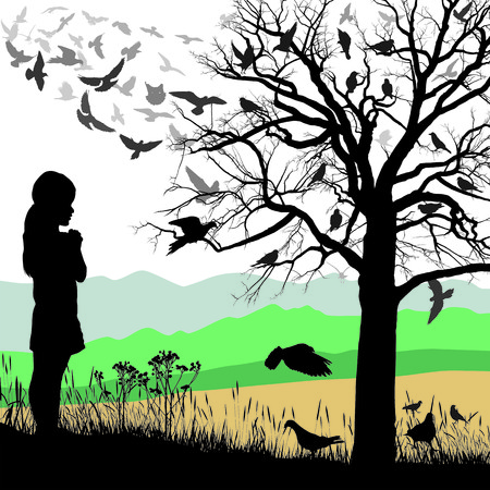 child protection: Illustrations child looks at a tree full of birds Illustration