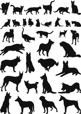 silueta de gato: ilustraciones de perros y gatos domésticos Vectores