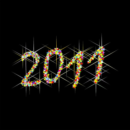 illustration multicolored New Year fireworks Illustration