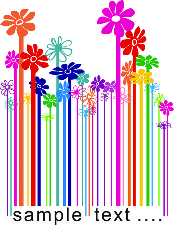 the reader:  color illustration barcode changing the flowers Illustration