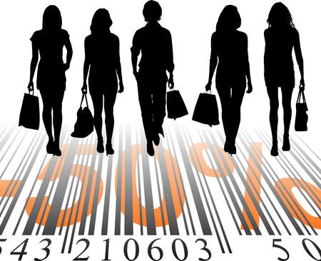 donna ricca: Giovani donne acquistate ad un prezzo scontato, illustrazione  Vettoriali