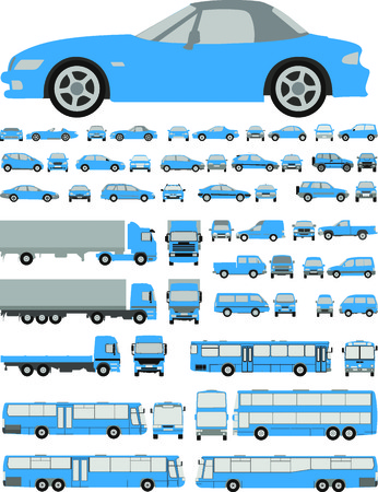 Assorted vehicle silhouettes illustration car, bus, truck