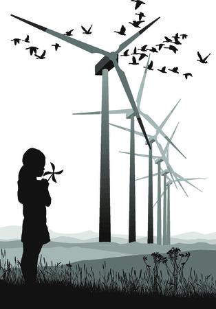 小型のプロペラと大規模な風力発電所
