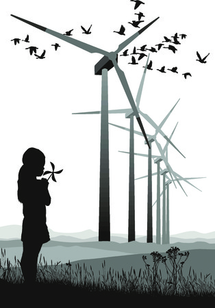 A small propeller and large wind farms Stock Vector - 7570680