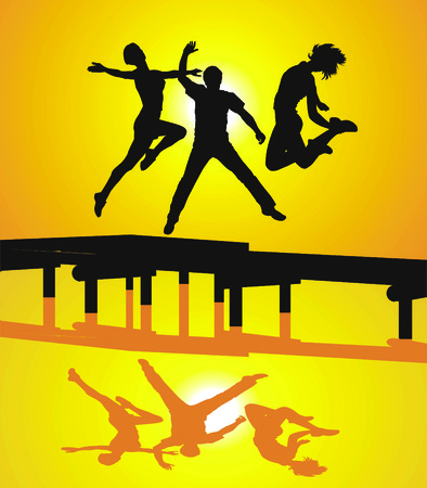 illustration of young people jumping on the pier Vector