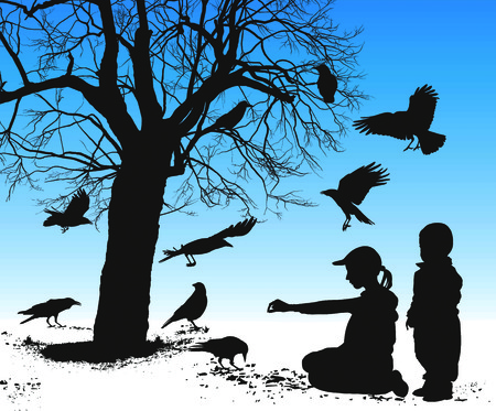 illustration silhouettes of birds who are fed in winter children Vector