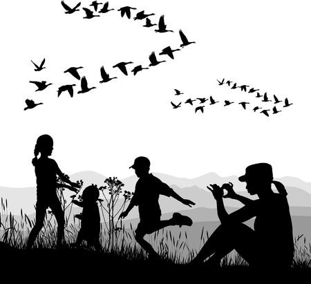 waterfowl: illustration of mothers and children and country trip in autumn