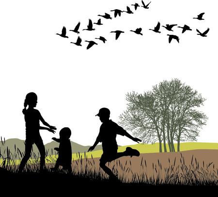 イラスト子供と国の秋を旅行します。
