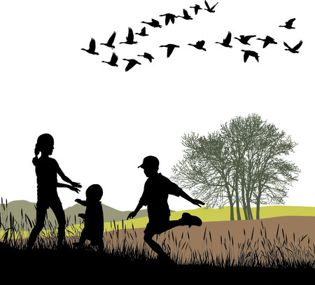 migrating: illustration children and country trip in autumn