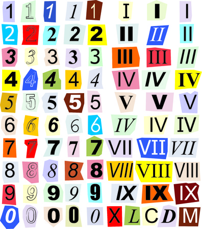 numerals: illustration of individual numerals cut out of newspapers and magazines