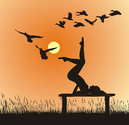 yoga sunset: Silhouette of women on the bench yoga instructor Illustration