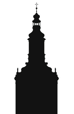 Silhouette of building a church in so-called Small Rome in Slovakia Vector