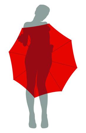 girl hiding under the umbrella Stock Vector - 8896217