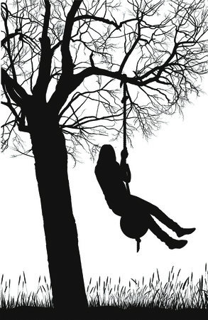 deciduous: silhouette of a deciduous tree and girl Illustration