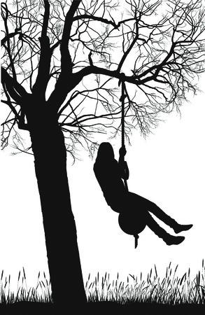 deciduous tree: silueta de un �rbol y la ni�a