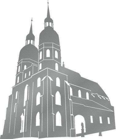 Editable vector drawing of catholic temple buildings in Trnava Stock Vector - 9072805