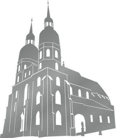 slovakia: Vettoriale modificabile disegno degli edifici del tempio cattolico di Trnava
