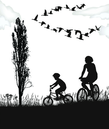 illustration boy and woman on bicycles in autumn nature