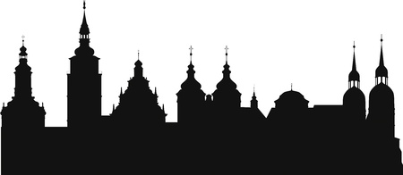 The silhouette of the historic town of Trnava in Slovakia